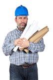 Bauarbeiterholdinglichtpausen lizenzfreie stockfotos