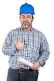 Bauarbeiterholdinglichtpausen lizenzfreies stockbild