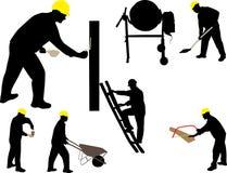 Bauarbeitermaurer-Vektorschattenbild Stockbilder