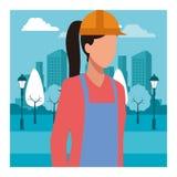 BauArbeitnehmerin-Arbeitskraftavatara stock abbildung