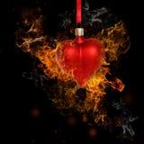 Bauble сердца пожара Стоковая Фотография RF