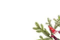 bauble błękitny bożych narodzeń składu szkło Zieleni jedlinowi twings i Xmas dekoracja Santa na białym tle Odgórny widok, mieszka Obrazy Stock