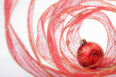 Bauble and Christmas Ribbon Royalty Free Stock Photos