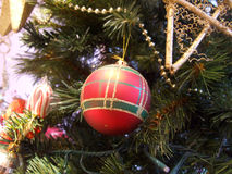 Bauble on Christmas tree. Red bauble on decorated Christmas tree Royalty Free Stock Image