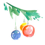 Bauble with christmas tree branch. Royalty Free Stock Photo