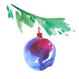 Bauble with christmas tree branch. Stock Image