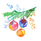 Bauble with christmas tree branch. Royalty Free Stock Photography