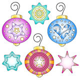 Bauble collection with stars and heart Stock Photos
