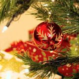 Bauble decorations on christmas tree Royalty Free Stock Images