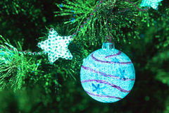 Bauble on firtree Stock Images