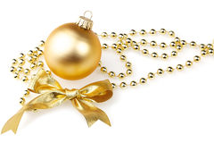 Bauble and golden ribbon Stock Photography