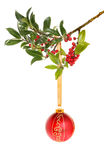 Bauble and holly Royalty Free Stock Image