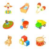 Bauble icons set, cartoon style. Bauble icons set. Cartoon set of 9 bauble vector icons for web isolated on white background Stock Images