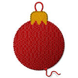 Bauble symbol of knitted fabric isolated on white background Stock Photos