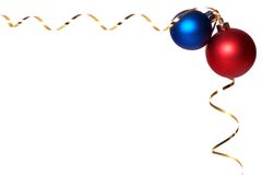 Baubles 2. Two cristmass baubles with gold ribbon spirals Royalty Free Stock Images