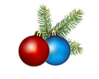Baubles. Red and blue christmas baubles with fir branch Royalty Free Stock Photo