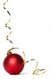 Baubles 3. Red bauble with gold ribbon spirals Stock Photo
