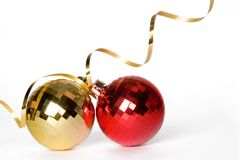 Baubles 4. Two baubles with gold ribbon spiral Stock Images