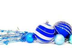 Baubles azuis do Natal Fotografia de Stock