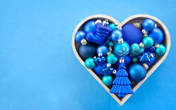 Baubles azuis do Natal Fotos de Stock