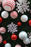 Baubles background. Christmas decorations in december month Stock Photos