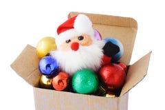 baubles box den dekorativa gåvan santa Royaltyfri Fotografi