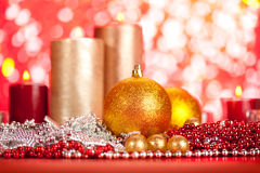 Baubles and candles Royalty Free Stock Image