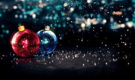 Baubles Christmas Night Bokeh Beautiful 3D Background Red Blue. Digital art Stock Photography