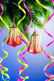 Baubles on christmas tree - celebration concept Stock Photos