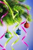 Baubles on christmas tree - celebration concept Stock Images