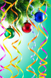 Baubles on christmas tree - celebration concept. Baubles on christmas tree in celebration concept Royalty Free Stock Images