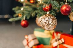 Baubles on christmas tree Stock Photography