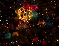 Baubles and Christmas tree. Colored baubles and lights of the city Christmas tree on Piotrkowska Street in Lodz Stock Photography