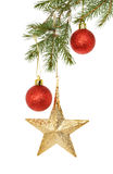 Baubles in a Christmas tree Royalty Free Stock Photos