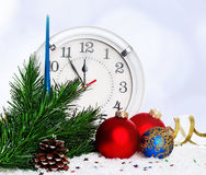 Baubles with clock Royalty Free Stock Image