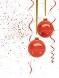 baubles confetti czerwień Zdjęcia Royalty Free