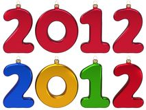 Baubles do ano novo 2012 no formulário dos números Imagens de Stock