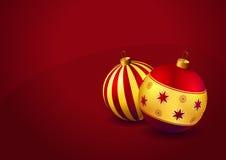 Baubles do Natal no fundo vermelho Fotografia de Stock Royalty Free