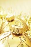 Baubles dourados do Natal Foto de Stock Royalty Free