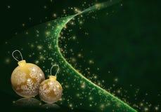 Baubles dourados no fundo estrelado verde ilustração stock