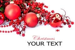 Baubles e decorações do Natal Fotografia de Stock