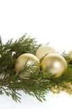 Baubles e evergree do Natal Fotografia de Stock
