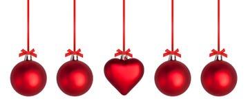 Baubles e fitas do Natal Imagens de Stock