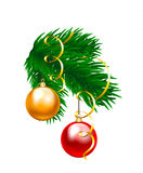 Baubles and fir branch. Christmas baubles and fir branch  on white Royalty Free Stock Image
