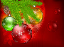 Baubles and fir on red background Stock Photography