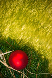 Baubles Glass Christmas card spruce twig green background Royalty Free Stock Photos