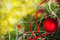 Baubles Glass Christmas card spruce twig green background Stock Photo
