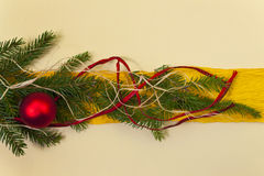 Baubles Glass Christmas card spruce twig green background Royalty Free Stock Photography