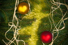 Baubles Glass Christmas card spruce twig green background Stock Photos
