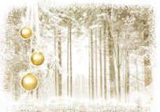 Baubles golden forest Stock Photography